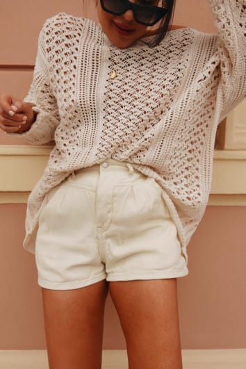 LORNA LUXE 'LUXETTE SHORTS' OFF WHITE DENIM HIGH WAISTED SHORTS