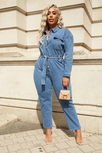 CURVE LAILA LOVES STRETCH DENIM BUTTON DOWN TIE WAIST OVERSIZED BOILERSUIT