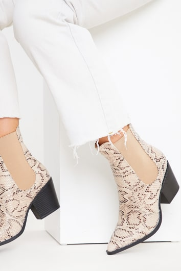GREY SNAKE PRINT ANKLE COWBOY BOOTS