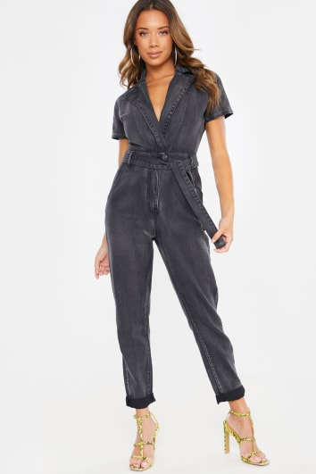DENIM WASHED BLACK SHORT SLEEVE JUMPSUIT