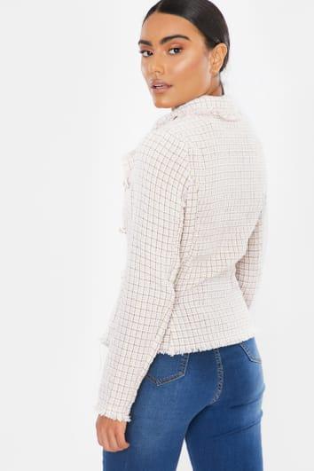 pink tweed check frayed edge blazer