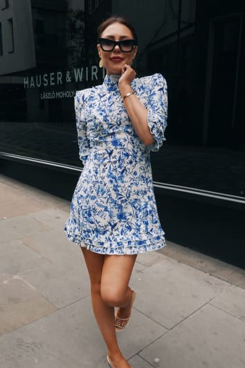 LORNA LUXE 'PRACTICALLY PERFECT' PORCELAIN BLUE FRILL DETAIL DRESS