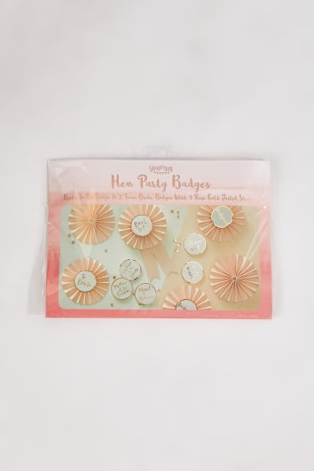 GINGER RAY PINK AND ROSE GOLD 6 PACK HEN PARTY BADGES
