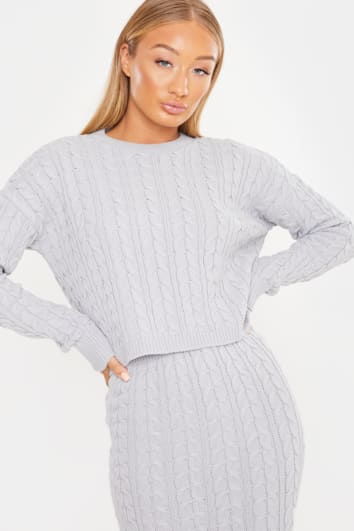LAILA LOVES GREY MARL CABLE KNIT CO-ORD JUMPER