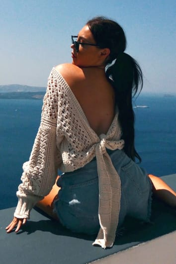 LORNA LUXE OFF WHITE 'LOVE STORY' OPEN BACK CROCHET KNIT TOP