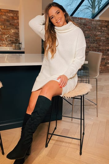 BLACK FAUX SUEDE CALF CHUNKY HEELED BOOTS