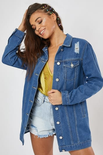 blue longline denim jacket