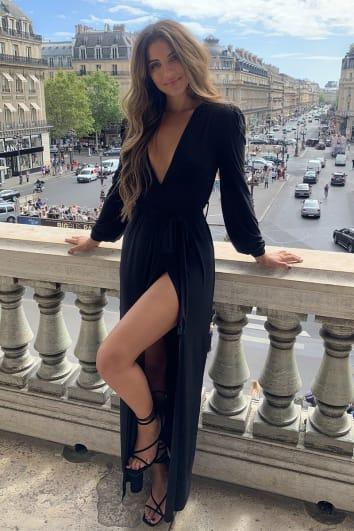 STEPHSA BLACK SLINKY PLUNGE MAXI DRESS