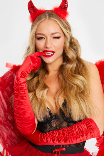 RED SATIN RUCHED TOP LONG GLOVES