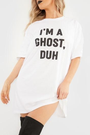 IM A GHOST..DUH WHITE OVERSIZED SLOGAN T SHIRT DRESS