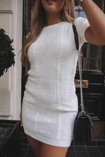 DANI DYER WHITE CABLE KNIT T-SHIRT DRESS