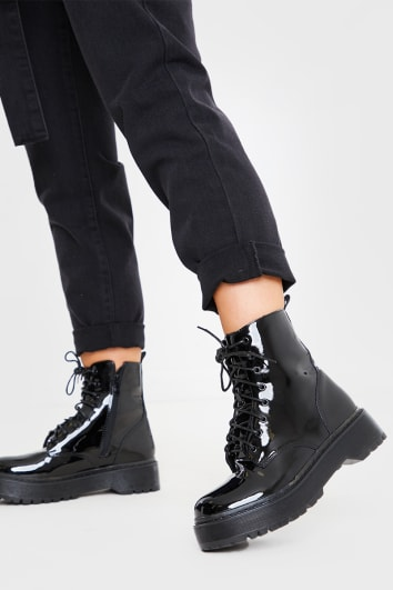 BLACK PATENT ANKLE BOOTS