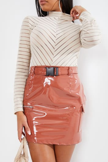 RUST VINYL BUCKLE MINI SKIRT