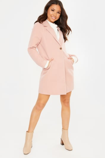 MAUVE SINGLE BREASTED FAUX WOOL COAT