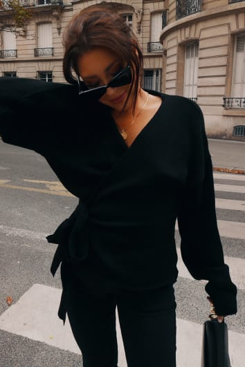 LORNA LUXE BLACK 'BUT FIRST' WRAP CARDIGAN