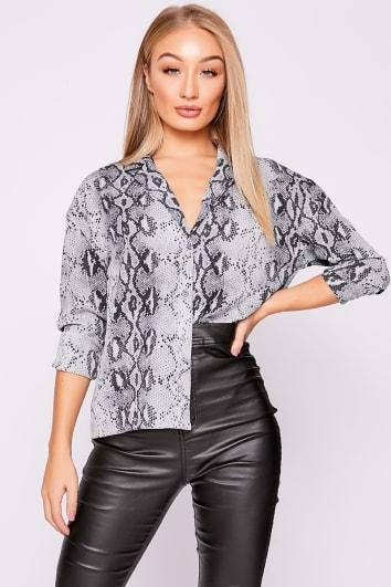 grey snake print shirt