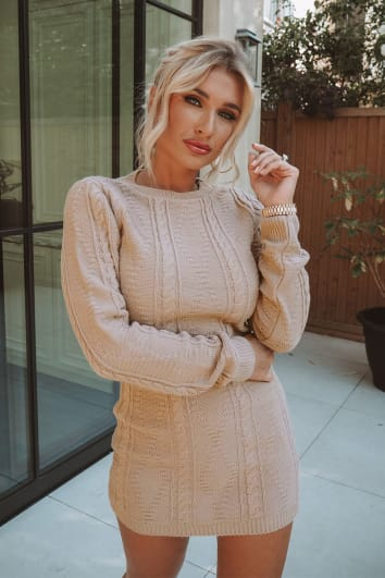 BILLIE FAIERS STONE CABLE KNIT HIGH NECK MINI DRESS