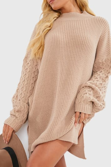 CHARLOTTE CROSBY CAMEL CABLE SLEEVE JUMPER DRESS