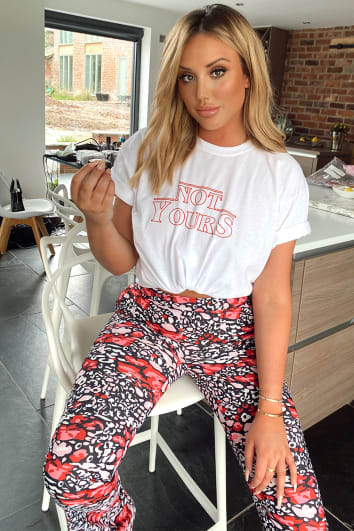 CHARLOTTE CROSBY WHITE 'NOT YOURS' SLOGAN T SHIRT