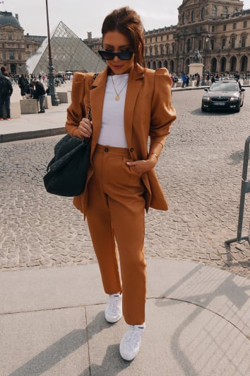 LORNA LUXE BURNT TOFFEE 'BIANCA' TAILORED PANTS