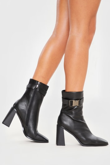 BLACK PU BUCKLE DETAIL SQUARE TOE ANKLE BOOTS