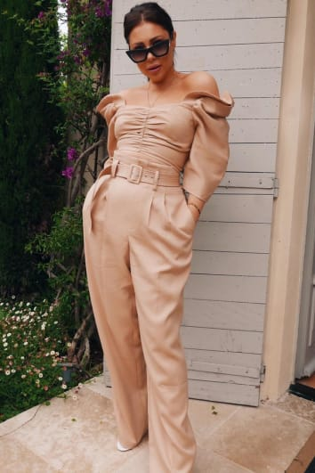 LORNA LUXE 'FIN DE SIECLE' TAN HIGH WAISTED CO-ORD TROUSERS