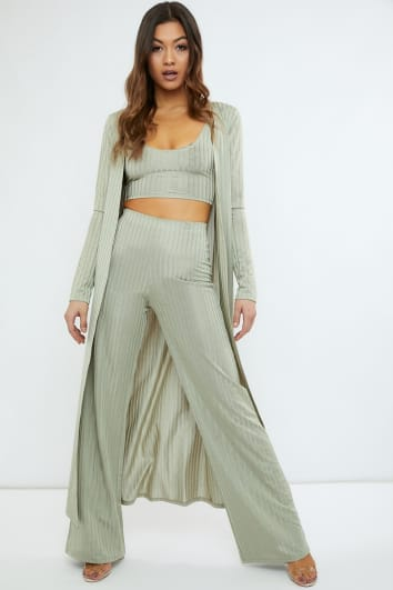 sage green slinky wide leg co-ord trouser