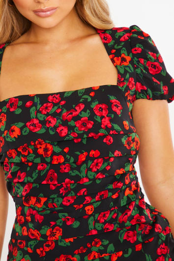 CHARLOTTE CROSBY RED FLORAL SQUARE NECK PUFFED SLEEVED RUCHED MINI DRESS