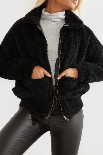 black teddy fur bomber jacket