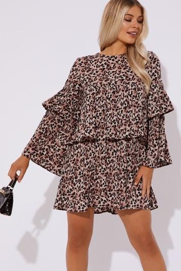 leopard pleated mini dress