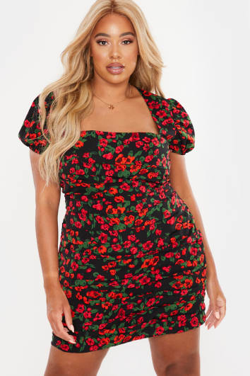 CURVE CHARLOTTE CROSBY RED FLORAL SQUARE NECK PUFFED SLEEVED RUCHED MINI DRESS