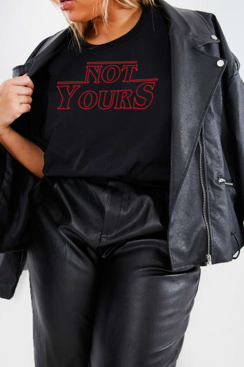 CURVE CHARLOTTE CROSBY BLACK 'NOT YOURS' SLOGAN T SHIRT