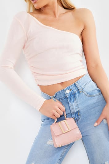 NUDE BRUSHED RIB ONE SLEEVE CROP TOP