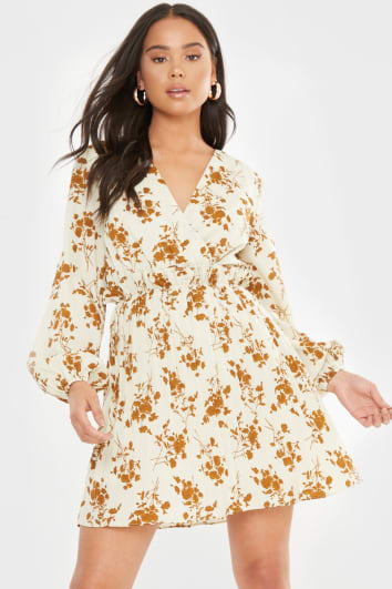 DANI DYER CREAM FLORAL PRINT BALLOON SLEEVE PLEATED MINI DRESS