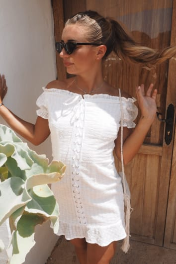 DANI DYER WHITE EYELET LACE UP FRONT BRODERIE ANGLAISE MINI DRESS