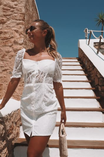 DANI DYER WHITE BUTTON DOWN LACE PUFF SLEEVE MINI DRESS