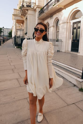 LORNA LUXE 'CORA PEARL' CREAM HIGH NECK SWING DRESS