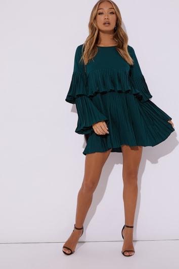 teal pleated mini dress