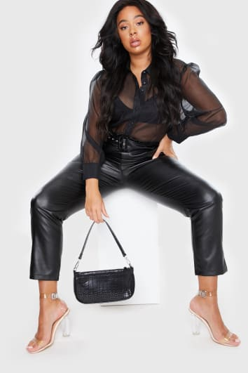 CURVE STEPHSA BLACK FAUX LEATHER PAPERBAG TROUSERS