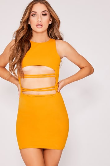 mustard cut out strap bodycon dress