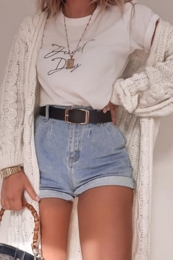 FASHION INFLUX WHITE CABLE KNIT MIDAXI CARDIGAN