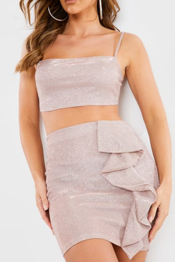 ROSE METALLIC CAMI CROP TOP AND RUFFLE MINI SKIRT CO ORD