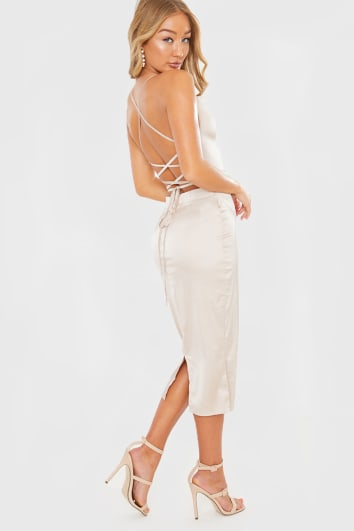 NUDE SATIN LACE UP BACK MIDI DRESS