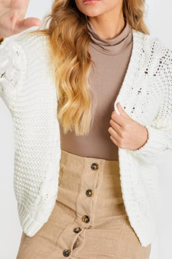 CREAM CHUNKY CABLE KNITTED CARDIGAN