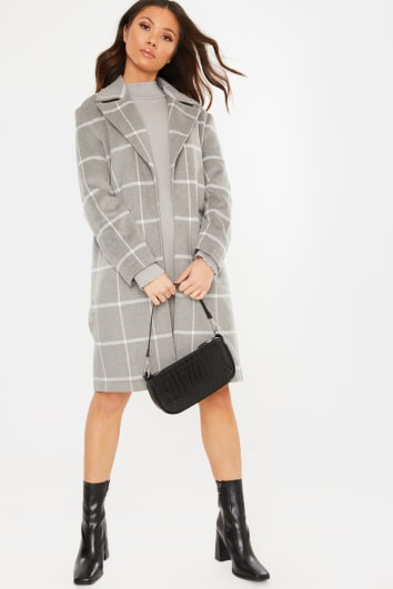 GREY CHECKED COLLAR DETAIL COAT