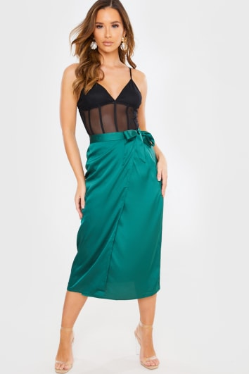 EMERALD SATIN WRAP MIDI SKIRT