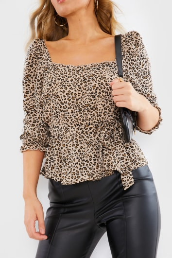 ABILEIGH LEOPARD PRINT PUFF SLEEVE BELT DETAIL TOP