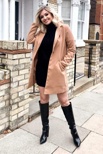 CAMEL SINGLE BREASTED FAUX WOOL COAT