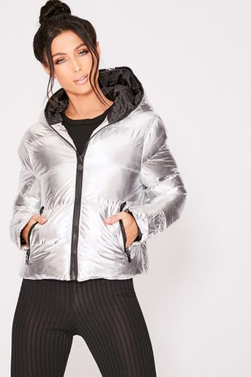 silver cropped metallic padded jacket