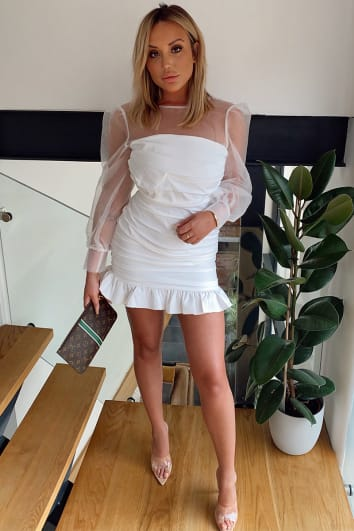 CHARLOTTE CROSBY WHITE ORGANZA BALLOON SLEEVE MINI DRESS